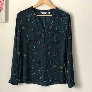 Reitmans Teal Floral Blouse - size Small